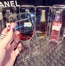Phone Case For iPhone5 5S 5G Liquid Beer Red Wine Glass Red Lip Cocktail transparent Case TPU Soft Back Cover