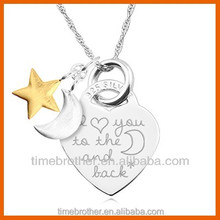 Hot selling stainless steel guitar pick necklace