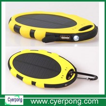 5000mah Solar Power Bank Charger Small size Silicon Waterproof Yellow With Climbing Hook Used for Sports and Outdoor