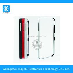 [kayoh] mirror metal bumper leather case for samsung s5, hybrid case metal bumper