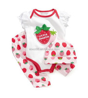 Guangdong Supplier Super Quality Competitive Price Girl Strawberray Print Hat+Romper+Pant 3PCS Cloth Set 0-1.5T