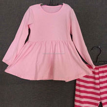2015 Lovely Baby Girls Cotton Thanksgiving Outfit Girls Full Sleeve Top And Ruffle Stripes Pant Set Children's Fall Clothing Set