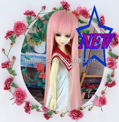 Hot selling long straight lovely pink synthetic doll wig wholesale
