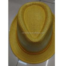 Yellow color fedora straw hat, ladies straw hat(HT-150330008)