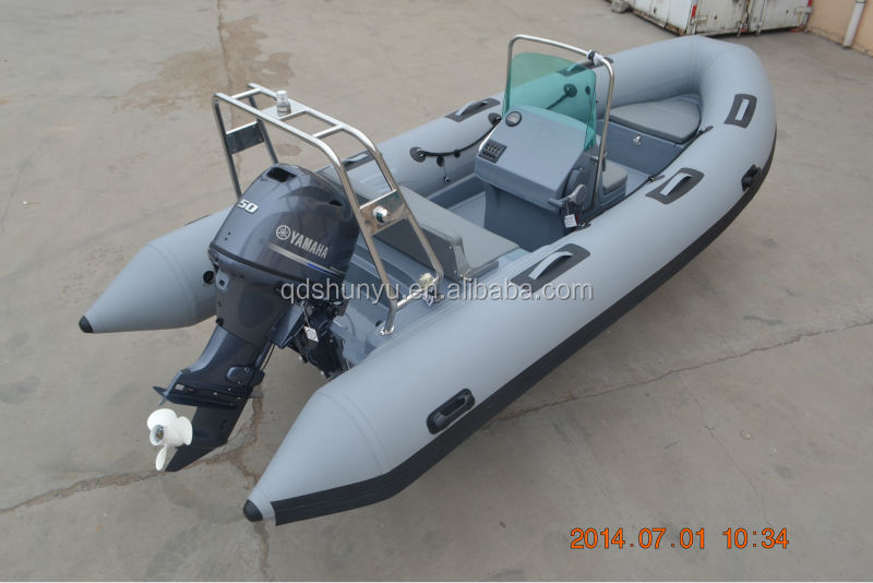 CE4.7m dark grey fiberglass hull hypalon rigid inflatable boat for sale