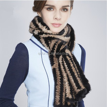 QC6271-2 multicolor real mink fur knitted scarf for winter