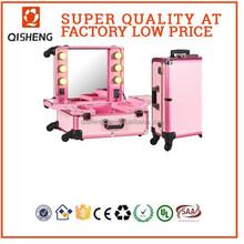 professional large size rolling cosmetics train case with mirror with lighting makeup artist travel train case makeup trolley