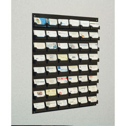 48-Pocket Wall Mounted Acrylic Business Card Holder Rack - Black Acrylic