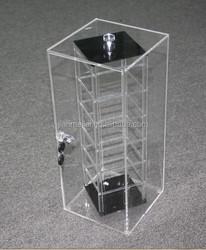 J-JML7096 !! Lockable rotating acrylic jewelry display case, China manufactory acrylic earring display case with LED light