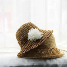 infant kids children wholesale plain raffia straw cloche hat with flower