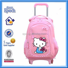 China Manufacturer Trolley hello kitty bags, girls school bags with wheels