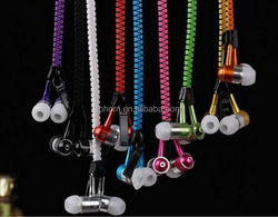 High Quality Fashionable Fluorescent Zipper Earphone With Mic for IPhone Samsung HTC