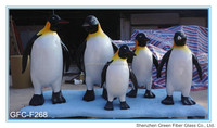 Life-size Outdoor Animal Fiberglass Cute Chubby Penguins Statue