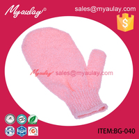 2015 Factory wholesale Helps remove dead skin Nylon gloves with soap for sedex audit BG-040