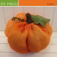 large organge mesh fabric decorative autumn harvest day pumpkin