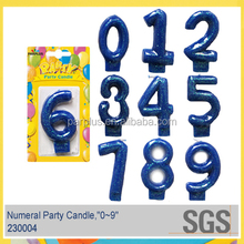 Blue Glitter Number Cake Candle for themed party