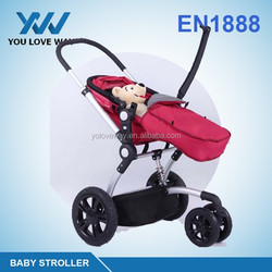 2016 Good quality softtextile baby doll stroller with car seat /baby bike trailer