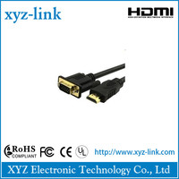 micro hdmi to vga cable 24k round flat braid gold plated 4k,2k for laptop,HDTV,PS3,set-top box,monitor
