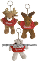 2014 new arrival stuffed small animal soft plush deer keychain toys with red T-shirt for children