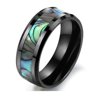 Mens Jewellry Accessories Natural Shell Tungsten Steel Ring