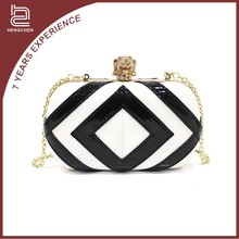 Popular style black and white pu Evening Bags indian metal clutch bags for women