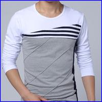 2014 new design cotton slim fit big tall men cotton long sleeve korea wholesale fashion t shirt casual style
