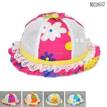 MZ2657 New design flower printed baby summer visor hats2015