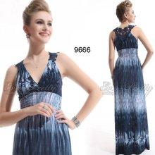 09666BL Gorgeous blues printed long evening dress