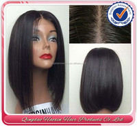 Hot sale silk straight human hair short bob style lace front wig bob wig