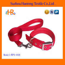 Red Coated dog collar and dog leash
