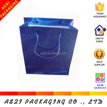 157gsm fashion blue shiny laminated holographic bag for gift carrier holographic bag