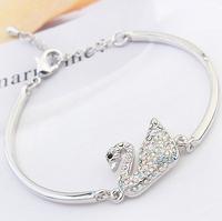 baby safety products 2015 swan bracelet chain bangle swarovski crystal jewelry for girl