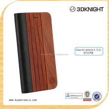 New Product Wood Leather Flip Stand Cover Case For Iphone 6plus