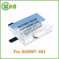 3.7v 950 mah bateria de baixa temperatura bt-401replacement bateria para gopro hero4 preto prata ahdbt- 401 bt-401