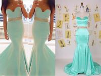 Custom Made 2014 New Arrival Hot Selling Beads Wasit Sexy Mermaid Formal Evening Prom Dresses