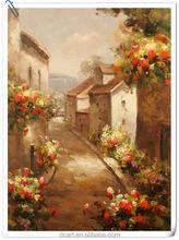 Mediterranean rural street landscape oil painting on canvas