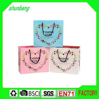 2015 250gsm chrome paper bag with heart logo pattern