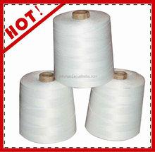 100% blanco crudo 20/9 ( 1/9 ) ( 3/3 ) de la virgen anillo de coser hecho girar del poliester hilo de rosca