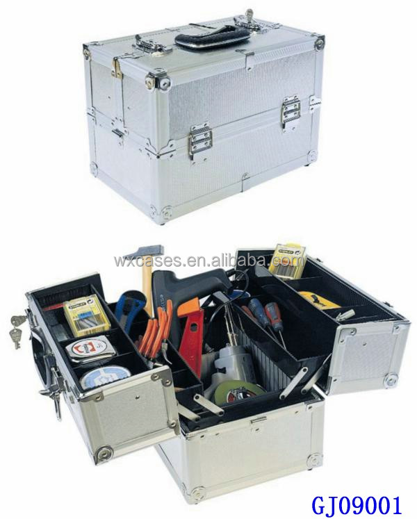 2014 strong aluminum tool box with 4 plastic trays&adjustable compartments on the case bottom from China manfacturer