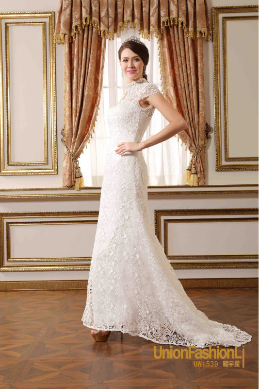 Modern Irish Wedding Dresses : Irish lace wedding dresses modern cap sleeve muslim bridal
