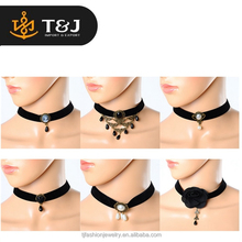 2015 Fashion Black Retro Gothic Lace Collar Stretch Tattoo Choker Beads Charms necklaces For Women Jewelry