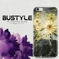 Simi-transparent soft cover case for iPhone 6 plus 3D Oil painting design customized patterns are available