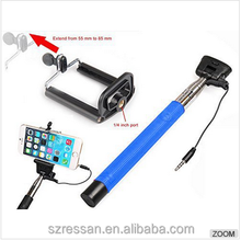 Mini Cable Selfie Stick Wire Button with Self Timer Mirror for iPhone Samsung