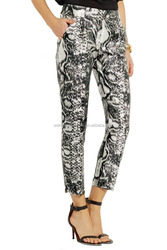 Wholesale fashion high quality women printed satin skinny pants for girls and ladies