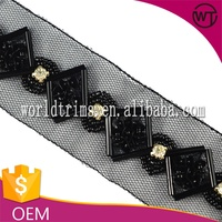Sequin beaded trim for garment neck WTA99