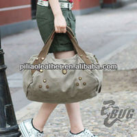 Cool rivets canvas and leathr handbags for women
