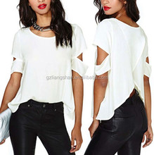 OEM Cheap Fashion Women Crew Neck Shirt Casual Loose Summer White Blouse Crop Tops