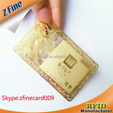 metallic gold card with hole punch / laser cut metal business card