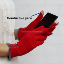 top selling gloves supplier, lively red color ladies winter touch screen gloves