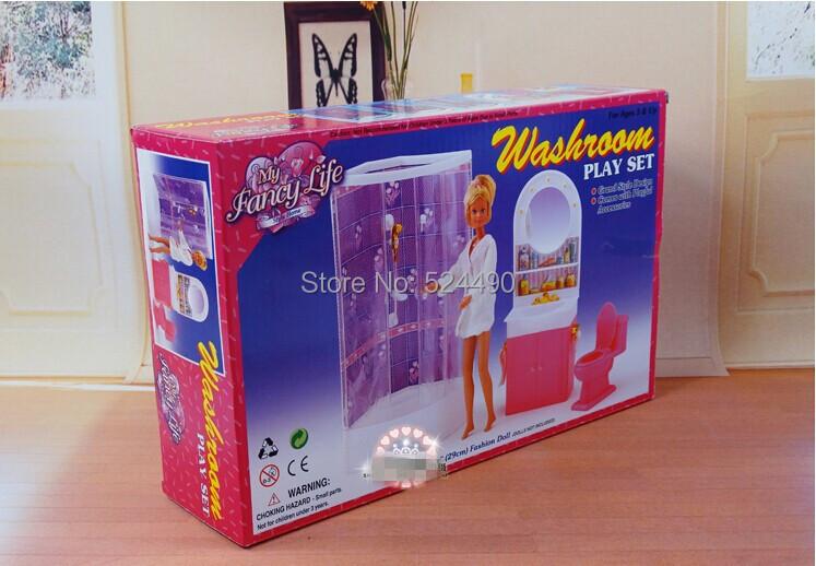 Purple Lavatory Washroom / hand washing sink / Closestool Units Dollhouse Furnishings Equipment for Barbie Kurhn Kelly Ken Doll